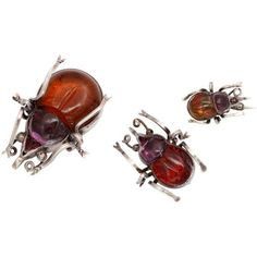 Pre-owned It Takes A Village:  Crystal Beetle Brooches ($1,850) ❤ liked on Polyvore featuring jewelry, brooches, crystal brooch, antique broach, red brooch, pre owned jewelry and antique crystal jewelry