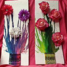 Crayon art for my daughter's room using flowers she wore as a baby and roses from her flower girl bouquet.