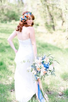 Pink & blue floral garden wedding inspiration  Make this beautiful bouquet and floral crown with silk flowers from afloral.com! #silkflowers http://www.afloral.com/