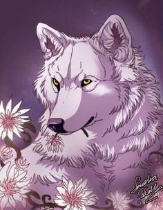 Kiba with flowers. (c) art me. (c) Kiba belongs to Bones '' Wolf rain'' Wait for me Cheza Wolf Spirit Animal, Wolf Children, Fantasy Wolf, Deep Art, Wolf Love, Wolf Pictures, Beautiful Wolves, Anime Wolf, Mythological Creatures