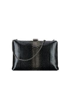 Kiss-lock bag, python & ruthenium metal-black & gold - CHANEL