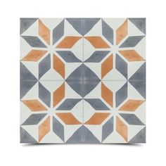 Assila Grey and Orange Handmade Cement and Granite Tile 8-inch Floor and Wall Tile Pack of 12, Handmade in Morocco