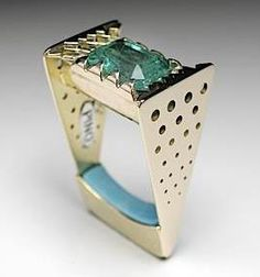 :: Golden Mirage – Emerald ©Pino  14k gold, emerald, sleeping beauty turquoise, Claudio Pino