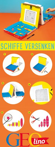 Mobile crafting: Easy crafting instructions GEOlino reveals an upcycling guide to play sinking ships with pizza boxes! Diy Crafts To Do, Upcycled Crafts, Easy Crafts, Paper Crafts, Mobile Craft, Light Crafts, Diy For Kids, Mobiles, Creations