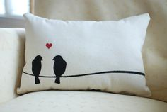Love Birds Pillow - apparently my future house will be full of bird decor Sewing Pillows, Diy Pillows, Decorative Pillows, Cushions, Throw Pillows, Valentine Decorations, Valentine Crafts, Bird Decorations, Bird Pillow