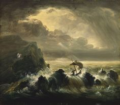 A sailor travels through a tough and dark storm. In the distance is an angel that seems to be looking at him in his shadow.