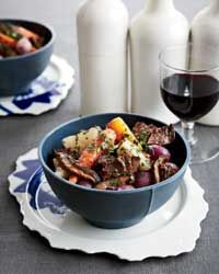 Short Ribs with Mushrooms and Spring Vegetables  - looks like the perfect meal for a cool spring evening.
