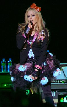 """Canadian singer Avril Lavigne rocked Hong Kong on February She kicked off the show with her latest song """"Hello Kitty"""" Avril Lavigne, Punk Rock Princess, Famous Musicals, Old Fan, Celine Dion, Canadian Artists, Pop Punk, Black Star, Playing Guitar"""