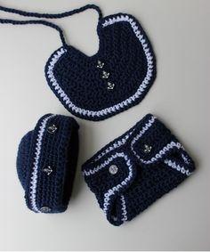 Crochet Sailor Hat Pattern - Crochet Bib Pattern - Crochet Diaper Cover Pattern- Nautical Baby Boy - No 70 - KrissysWonders Crochet Baby Bibs, Crochet Baby Clothes, Crochet For Boys, Crochet Hats, Free Crochet, Baby Boy Bibs, Baby Boys, Diaper Cover Pattern, Nautical Baby