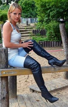 Black Leather Thigh Boot with with lacing at the rear and 5 inch Stiletto Heel. Suitable for men or women. Thigh high boots with stiletto heels from Pleaser Shoes. Black High Boots, Black Leather Boots, Ladies Leather Boots, Black Over Knee Boots, Jean Sexy, Thigh High Boots Heels, Sexy Boots, Jeans And Boots, Thighs