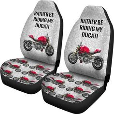 DUCATI MONSTER Car Seat Covers - Rather Be Riding - Motorcycles Motorbikes www.thenakedbike.com #TheNakedBike #ducati #monster #ducatimonster #motorcycles #motorbike #motorsport #motogp #motorcyclesofinstagram #ebay