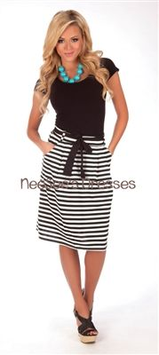 Black and White Stripe Modest Skirt, Vintage Dress, Church Dresses, modest skirt, trendy modest dresses, dresses for church, skirts for church, cute skirts, spring trends, affordable boutique clothes, modest, boutique dresses, mikarose