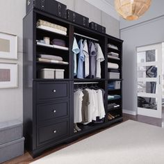 Find Bedford Black 3 Piece Closet/Storage System Organizer Home Styles online. Shop the latest collection of Bedford Black 3 Piece Closet/Storage System Organizer Home Styles from the popular stores - all in one Wall Unit, Bedroom Armoire, Closet Designs, Closet Storage Systems, Closet Organization, Wall Storage Unit, Portable Closet, Home Styles, Closet System