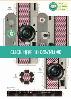 Free Printable DIY Paper Camera Photo Frame   Printable gifts   Download this unique paper camera from SkyGoodies and TodaysCreativeLife.com