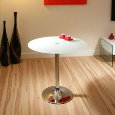 Round Glass Dining Table White Glass, Chrome Base 80cm Dia Modern A12