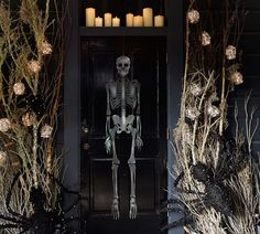 Set a spooky scene with Halloween decorations from Pottery Barn. Shop for faux pumpkins, skeletons and Halloween lights and set the stage for a scary Halloween party. Spooky Halloween, Porche Halloween, Halloween Veranda, Halloween Yard Decorations, Halloween Porch, Halloween Home Decor, Holidays Halloween, Halloween Ideas, Halloween Crafts