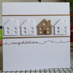 Sue - you have this sentiment stamp - New Home Card. Using: Lawn Fawn scripty sayings stamp & Xcut dinky dies house. Welcome Home Cards, New Home Cards, House Of Cards, Handmade Birthday Cards, Greeting Cards Handmade, Cool Cards, Diy Cards, Happy New Home, Card Making Templates