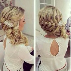 Braid with curls to the side---hmmm...if I don't do half-up THIS is what I want!