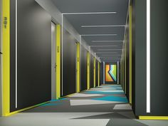 Great long corridor design with signage ideas too