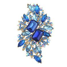 nice EVER FAITH Flower Bouquet Brooch Blue Austrian Crystal Gold-Tone