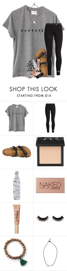 """""""my soul cannot stay in one place"""" by lindsaygreys ❤ liked on Polyvore featuring adidas, Birkenstock, NARS Cosmetics, S'well, Urban Decay, Lead and NIKE"""