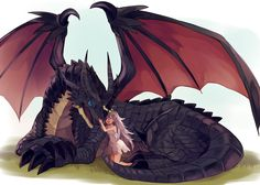 dragon and friend Dragon Pet, Manga Dragon, Dragon Girl, Mythical Creatures Art, Mythological Creatures, Fantasy Creatures, Fantasy Dragon, Fantasy Art, Dragon Artwork