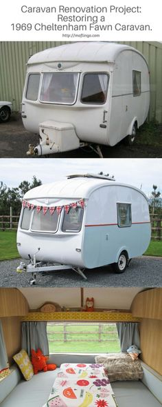 Beautiful revamp of a 1969 Cheltenham Fawn Camper Caravan. This isn't just restoring to its former glory. It has exceeded it with handmade piped cushion covers, cushions and curtains and hand built oak interior. It is a thing of beauty Caravan Curtains, Diy Caravan, Caravan Living, Retro Caravan, Camper Caravan, Retro Campers, Caravan Ideas, Vintage Campers, Camper Ideas