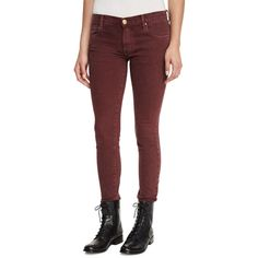 The Great The Skinny Skinny Jeans ($74) ❤ liked on Polyvore featuring jeans, wine, red jeans, denim skinny jeans, zipper jeans, wine jeans and button-fly jeans
