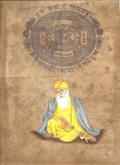 Guru Nanak Dev Sikh Painting Handmade Punjab Sikhism Religion Stamp Paper Art