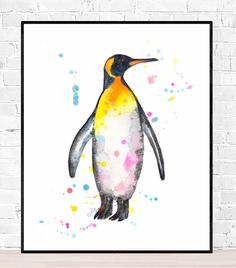 Penguin Watercolor, Watercolor Animals, Watercolor Paintings, Original Paintings, Watercolor Paper, Hand Kunst, Gifts For Nature Lovers, Colorful Animals, Vivid Colors