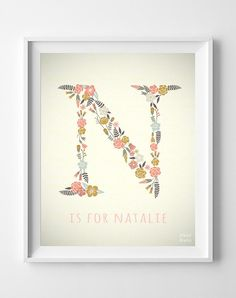 Natalie Custom Name Baby Art Noah Nora Letter N by InkistPrints