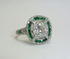 Spellbinding Art Deco 4.25ct Diamond & Emerald Ring in Platinum