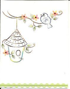 Bird and birdhouse by HandmadeCardsByAnita on Etsy