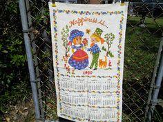 Vintage 1980 Linen Cloth Calendar Towel Happiness by 3DsVintage