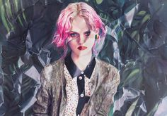 Wrinkled and crumpled oil paintings of photorealistic fashion magazine portraits