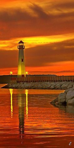 """mysticallion: """" There is a lighthouse in Underworld, Near the eastern edge of Styx, Where Hades always waits for his wife. Through summer and spring He doesn't do a damn thing For autumn and winter. Nature Pictures, Cool Pictures, Beautiful Sunset, Beautiful Places, Landscape Photography, Nature Photography, Lighthouse Pictures, Lighthouse Painting, Jolie Photo"""
