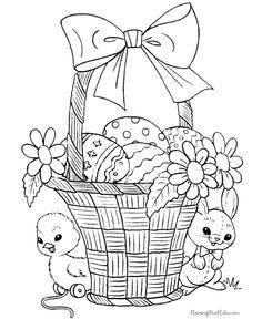 Pâques poussins dans panier | Coloring | Pinterest | Easter ...