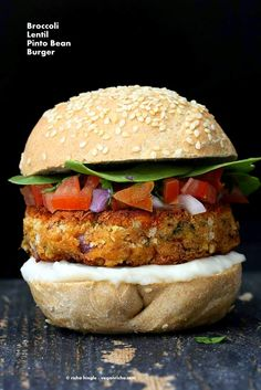 Pinto Bean Broccoli Lentil Burgers | Vegan Richa