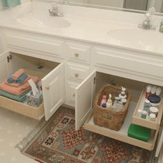 roll outs for bathroom vanities (main & master baths)