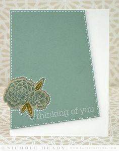 Stitched Thinking of You card by Nichole Heady for Papertrey Ink (July 2014)