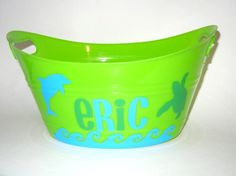 Childrens Personalized Plastic Tub Container with a Dolphin and Turtle for Easter-Valentines Gift Basket or Drink and Snack Storage or. 8.00, via Etsy.