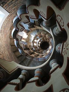 Spiral staircase at Bory Castle in Szekesfehervar, Hungary