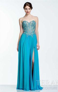 Terani 151P0037 Strapless Beaded Long Split Prom Dresses Discount