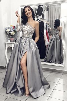2019 New Long Sleeves Grey Lace A Line Pocket Fancy Prom Dresses Formal Evening . - - 2019 New Long Sleeves Grey Lace A Line Pocket Fancy Prom Dresses Formal Evening Grad Dress Source by Fancy Prom Dresses, Split Prom Dresses, Grey Prom Dress, Prom Dresses Long With Sleeves, Sweet 16 Dresses, Lace Evening Dresses, Satin Dresses, Cheap Dresses, Casual Dresses