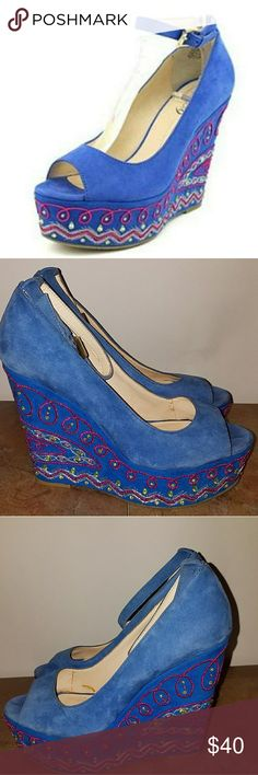 BOUTIQUE 9 BLUE WEDGE PEEP TOE SZ 8 PRE-LOVED IN GOOD CONDITION Boutique 9 Shoes Wedges