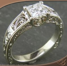 BEAUTIFUL HAND ENGRAVED  ENGAGEMENT RING WITH 6 PANELS OF FILIGREE SCROLL WORK, HAND ENGRAVING AND MILGRAIN DETAILS.