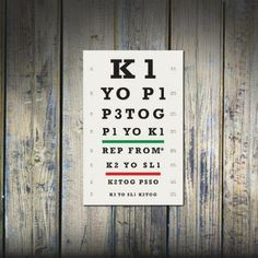 Knitters Eye Chart (TM) Knitter Gift Idea As Seen in Vogue Knitting and Interweave Knits 12 x 18 Inch Print Lace Stitch Pattern Design Knitting Terms, Knitting Humor, Knitting Yarn, Knitting Projects, Knitting Patterns, Knitting Abbreviations, Knitting Room, Crochet Humor, Knitting Ideas
