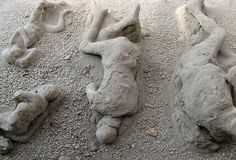 Plaster Casts of Corpses in the Garden of the Fugitives, Pompeii, Italy ~~ children....