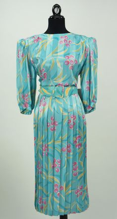 Vintage Deadstock 1980s Blue Argenti Dress Size by CeeLostInTime