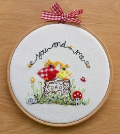 """Embroidered hoop art """" You & Me Dad"""""""